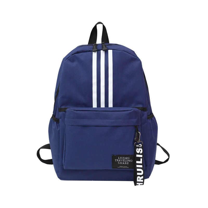 b46894f62d6e Modern Canvas Men Women Backpacks Brand Solid Zipper Vertical Bar Teenager  School Bags Big Capacity Muchila Travel Laptop Bags