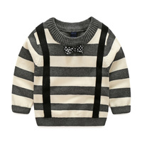 Free Shipping 2015 Boys Cotton Stripe Unlined Upper Garment Girl Temperament Pullovers Baby Young Children S