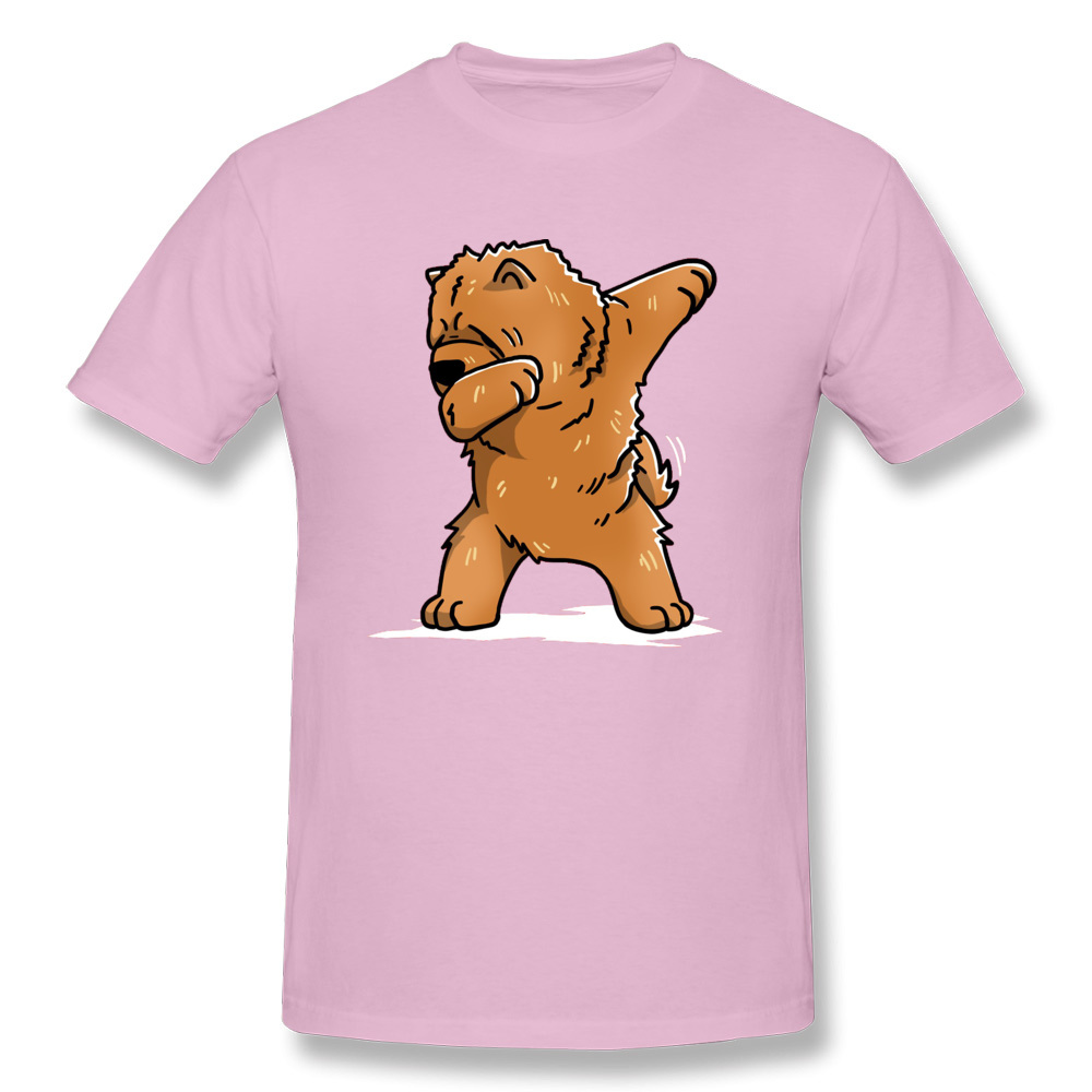 Funny-Dabbing-Chow-Chow-Dog- Short Sleeve Tops & Tees Round Collar 100% Cotton Men T Shirts Casual Tee Shirt New Coming Funny-Dabbing-Chow-Chow-Dog- pink