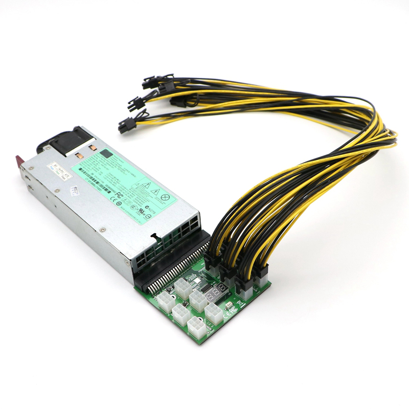 HP DPS-1200FB 1200W Power Supply Mining 12 6pin 8pin Cables Breakout Board Kit