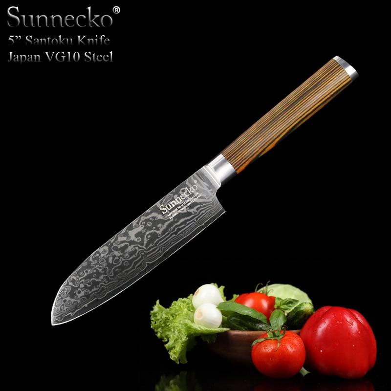 SUNNECKO 5 pouces mode Santoku couteau japonais VG10 damas acier couteaux de cuisine utilitaire japon Chef couteau outil manche en bois