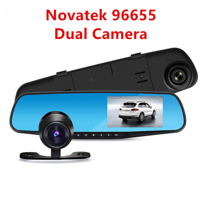 Novatek 96655 Car Rearview Mirror Camera DVR 1080P Digital Video Registrator Recorder G-sensor Parking Monitor Black Box 2 Lens