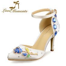 Love Moments sandals high Heels  Pointed Toe  Wedding Shoes Bride Birthday Party ladies shoes  valentine shoes