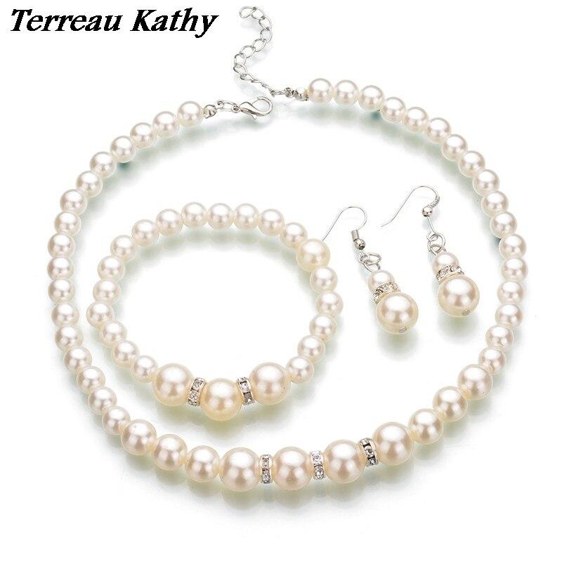 Terreau Kathy New Simulated Pearl Wedding Jewelry Set Rhinestone Necklace Fine Jewelry Party Women Beads Bridal Earrings
