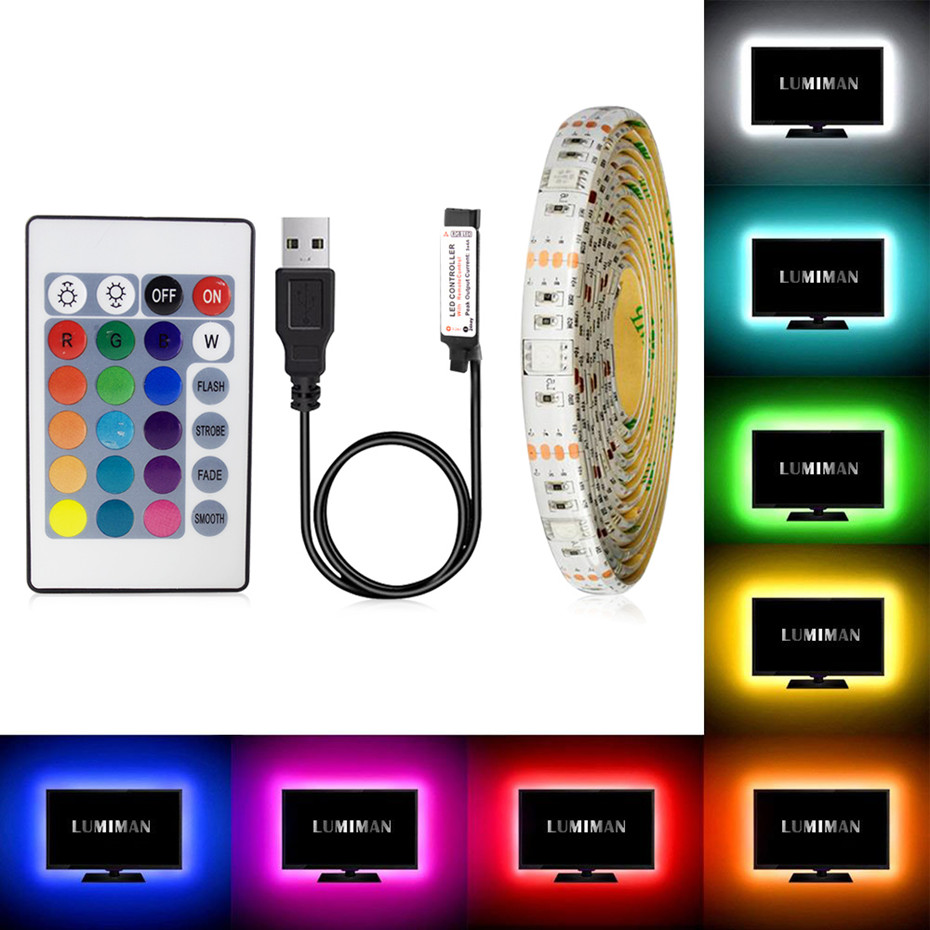 <font><b>USB</b></font> LED Strip Light 0.5M 1M 2M 3M 4M 5M Flexible RGB Strip Light DC5V RGB Color Changeable TV Screen Background Kitchen Lighting image