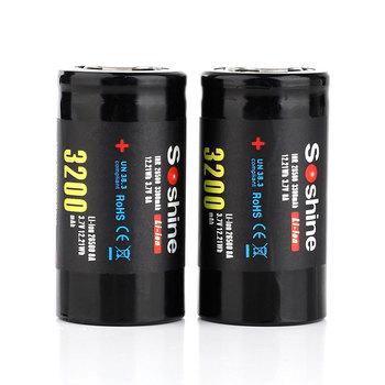 2 sztuk para Soshine 3 7 V 3200 mAh 26500 bateria wielokrotnego ładowania akumulator litowo-jonowy celda z funkcją soporte de batería tanie i dobre opinie USZCZELNIONE Bezpłatne 3300MAH