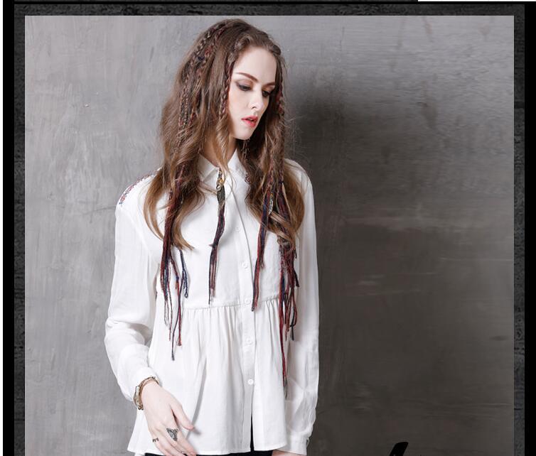 Loose Clothing White 1 2018 Fashion Feminina Tops Spring Camisa Korean Women Embroidery Women's Blouses Summer Shirts Long Sleeve qpwwaZFx7