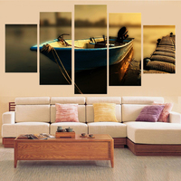Oil Picture Seascape Wall Art Canvas Print Poster Boat Painting Sunset Picture Scenery Home Decor Wall Art Canvas Unframed 5 Pcs