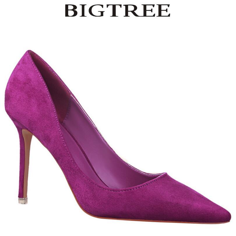 BIGTREE Brand Shoes Woman Purple Flock High Heels Women