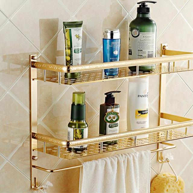 Wall Mounted Gold Space Aluminum Bathroom Shelf With Towel Rack And Robe  Hooks Bath Shampoo Shelf