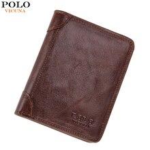 Коричневый/черный викуньи ультратонкий твердый поло натуральной простой бизнес бумажник кожаный кошельки