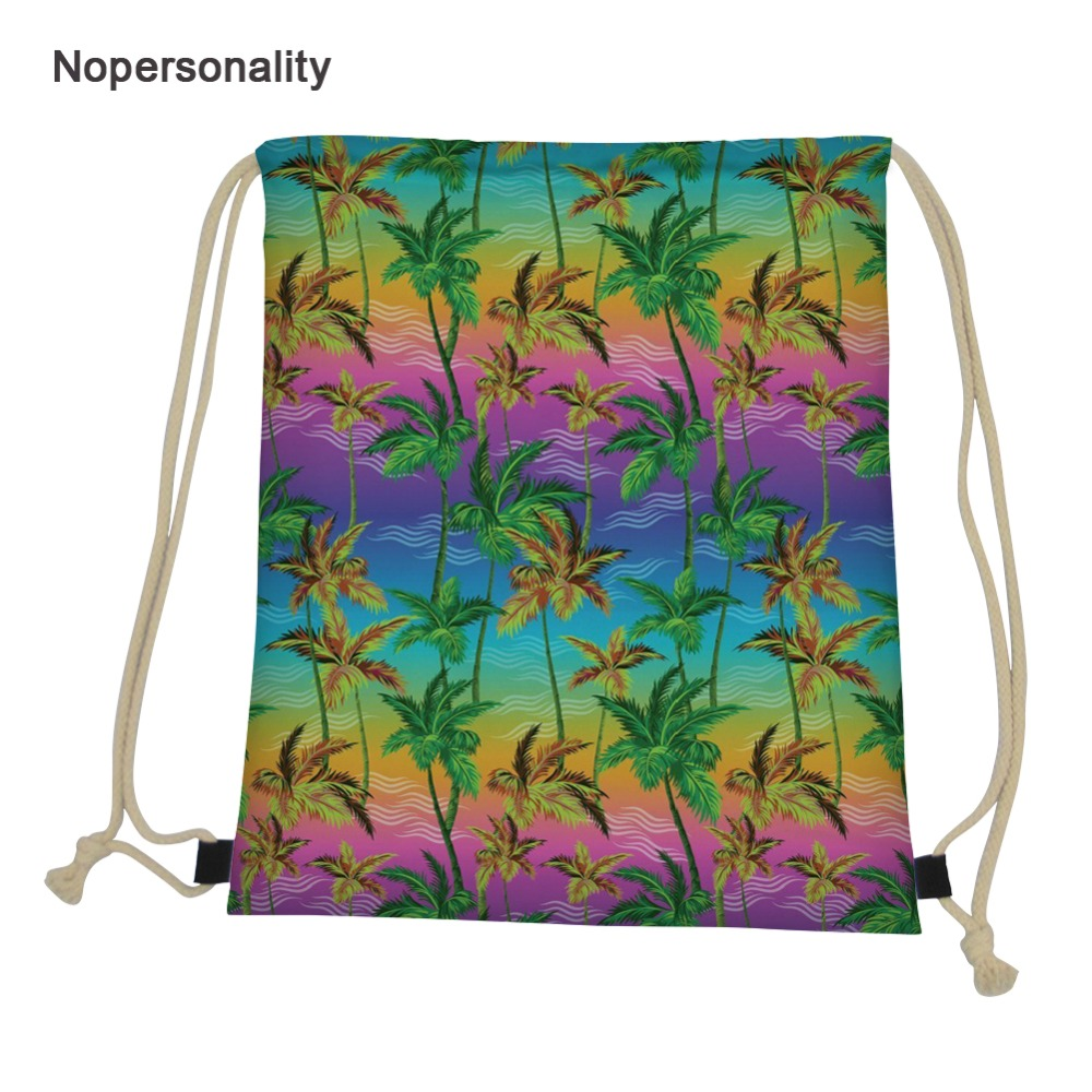 Nopersonality Colorful Palm Tree Backpack Printing Travel Softback Man Women Harajuku Drawstring Bag Kids Drawstring Backpacks