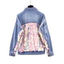 Denim Jacket Female 2019 Spring New European Sequins Splice Loose Denim Coats Gi