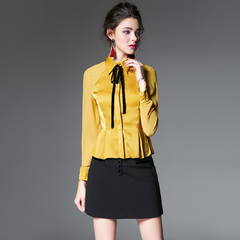 2018 New spring High quality formal blouses blusen Long-sleeved boutique defined waist women office shirt female tops