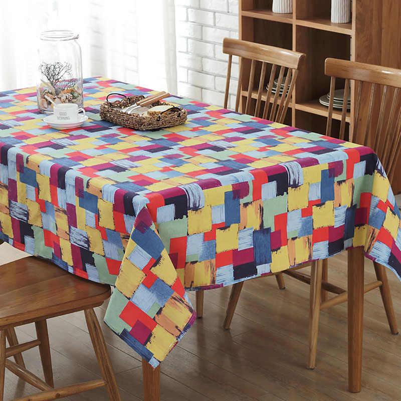 Kleurrijke Tafelkleed Decor Dining Gedrukt Tafel Covers Katoen Polyester Rechthoekige Tafelkleed voor Thuis Keuken Banket