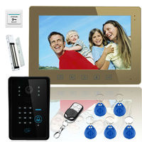 10 Inches Wire Video Door Phone Indoor Monitor Outdoor Camera Intercom System With RFID Keyfob Password