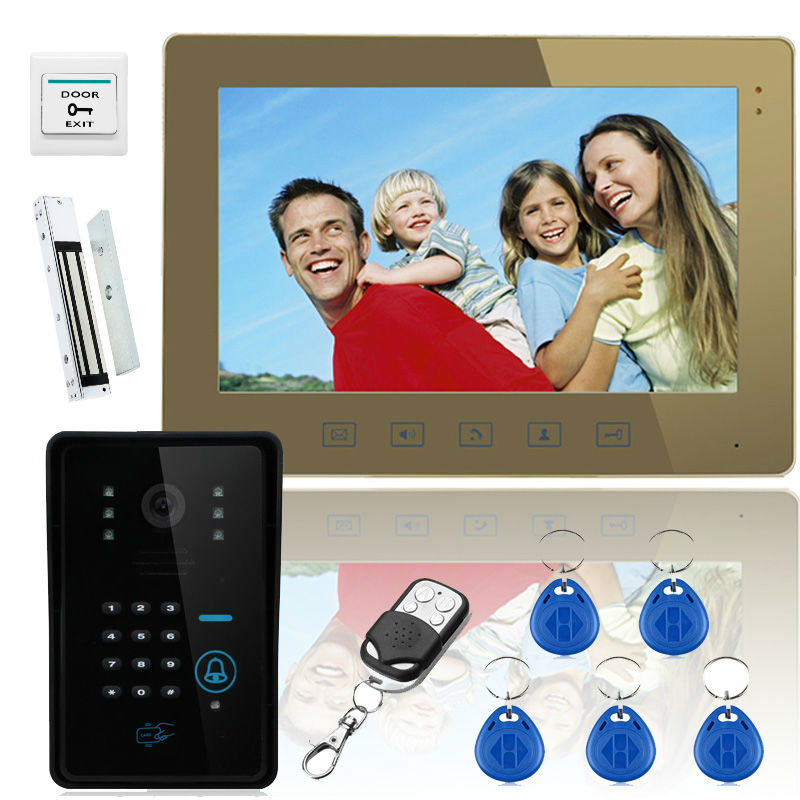 YobangSecurity Video Door Phone 10 Inch Wire Indoor Monitor Outdoor Camera Intercom System With RFID Keyfob,Password,Door Lock yobangsecurity 7 inch wire video door phone doorbell intercom system waterproof outdoor camera with raincover intercom system