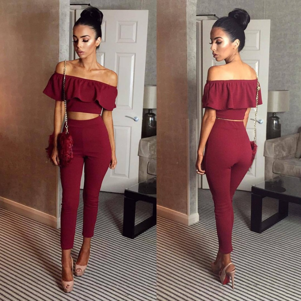 Off Shoulder 2 Pcs Set Long Slim Ruffles Bodycon Macacao Womens   Jumpsuit   Female Overalls Playsuit Romper   Jumpsuit   Rompers S6928