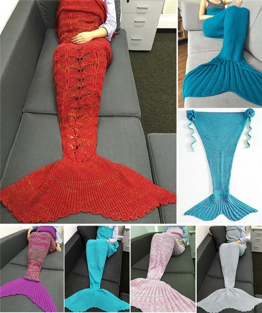 7 Size New Style Mermaid Tail Blanket Handmade Crochet Mermaid Blanket Kids  Adult Throw Bed Wrap b3988f743
