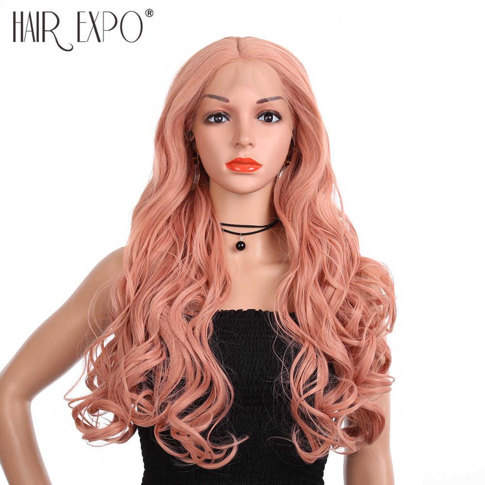 Оранжевый розовый парик шнурка длинный без клея естественные волнистые средняя часть синтетические парики шнурка для женщин половина ручной работы волосы Экспо город
