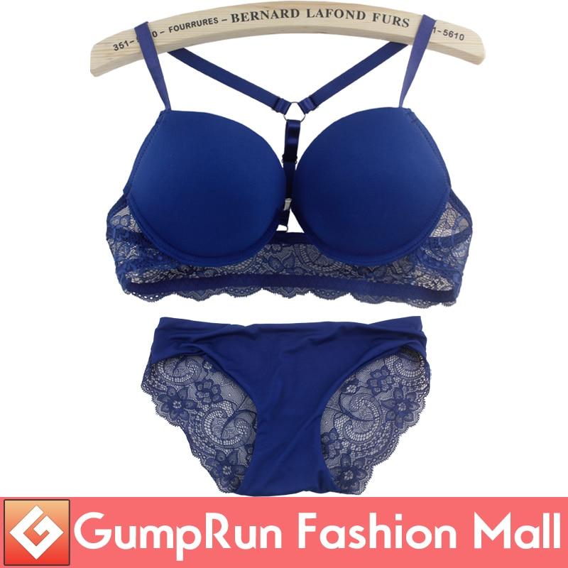 Deruilady EU&US Style Women Bra Set Front Closure Y-Ling Straps Lace Bra Briefs Comfortable Underwire Push Up Bra Set Underwear