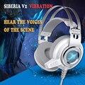 Siberiano equipo auricular bajo pesado auriculares emisores de luz azul del juego del choque