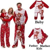 Gacloz PJs Set Adult Kids Christmas Pyjamas Family Matching Outfits Pajamas Cotton Nightwear Sleepwear Red 2019 Jacket Coat Suit
