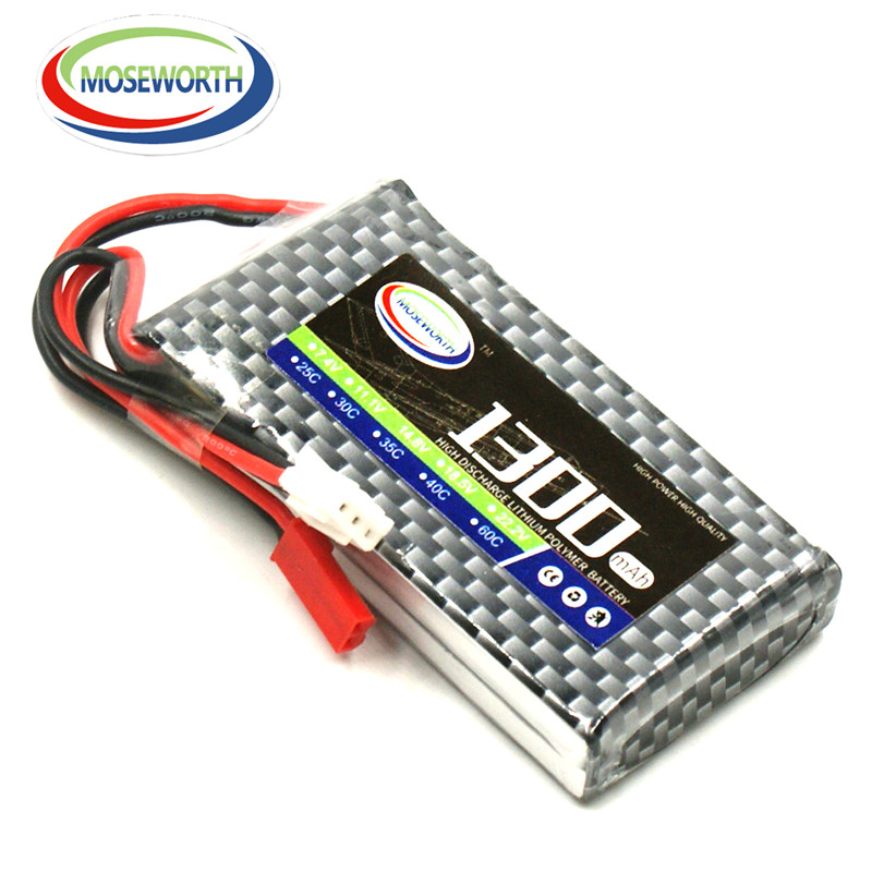 2PCS MOSEWORTH 2S RC Lipo battery 7.4v 1300mAh 35C Li-ion cell For RC helicopter rc car rc boat quadcopter Li-Polymer batteria