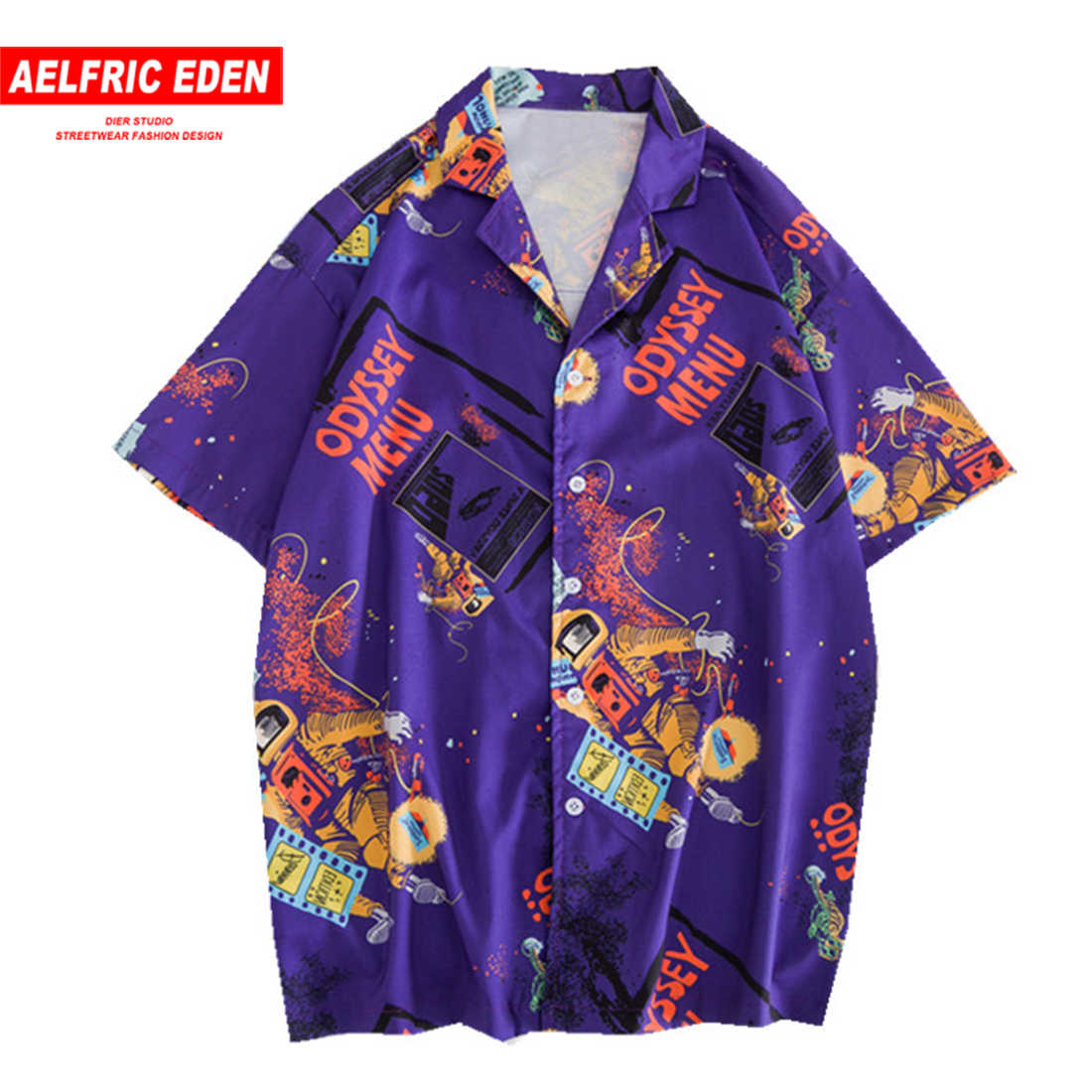 Aelfric Eden 2019 Summer Shirts Men Hip Hop Streetwear Fashion Casual Tops Astronaut Print Hawaii Shirt Short Sleeve Beachwear