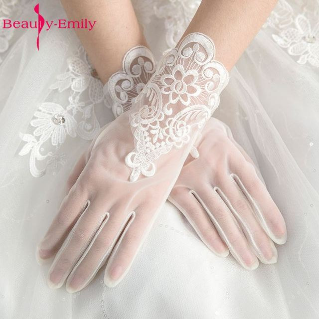 Beauty Emily Wedding Gloves Bridal See Through Long Finger 2017 Bride Accessories