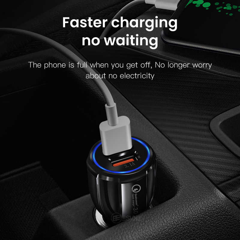 Esvne Charger Mobil Pengisian Cepat 3.0 2.0 Mobile Phone Charger 2 Port Cepat Mobil USB Charger untuk iPhone Xiaomi Huawei tablet Pengisian