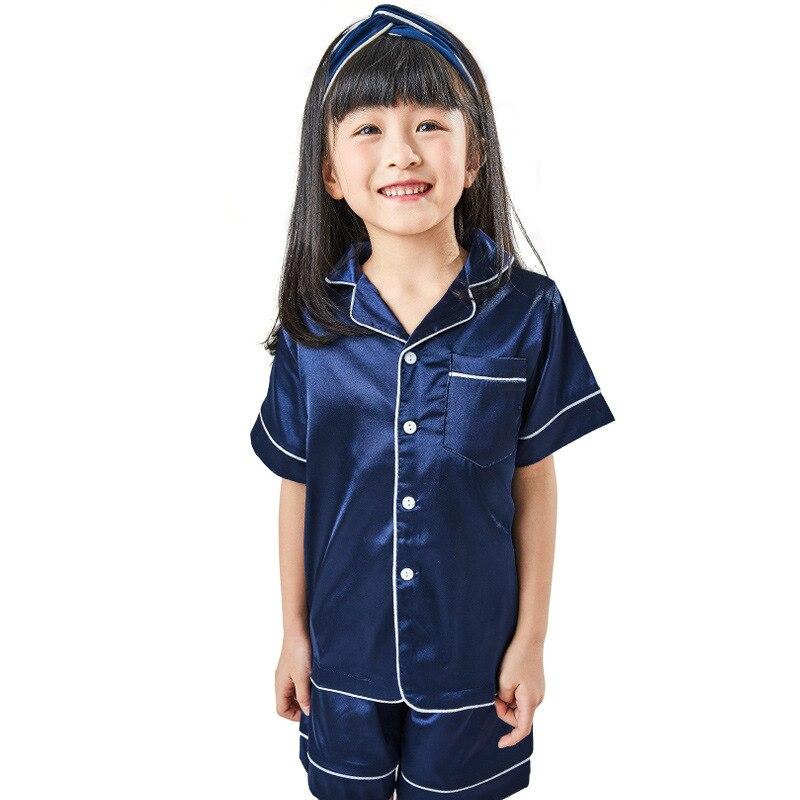 Children Silk Pajamas Summer Pajamas For Girls Kids Pyjamas Softy Boys Sleepwear Baby Clothing Kids Pajama Set 2