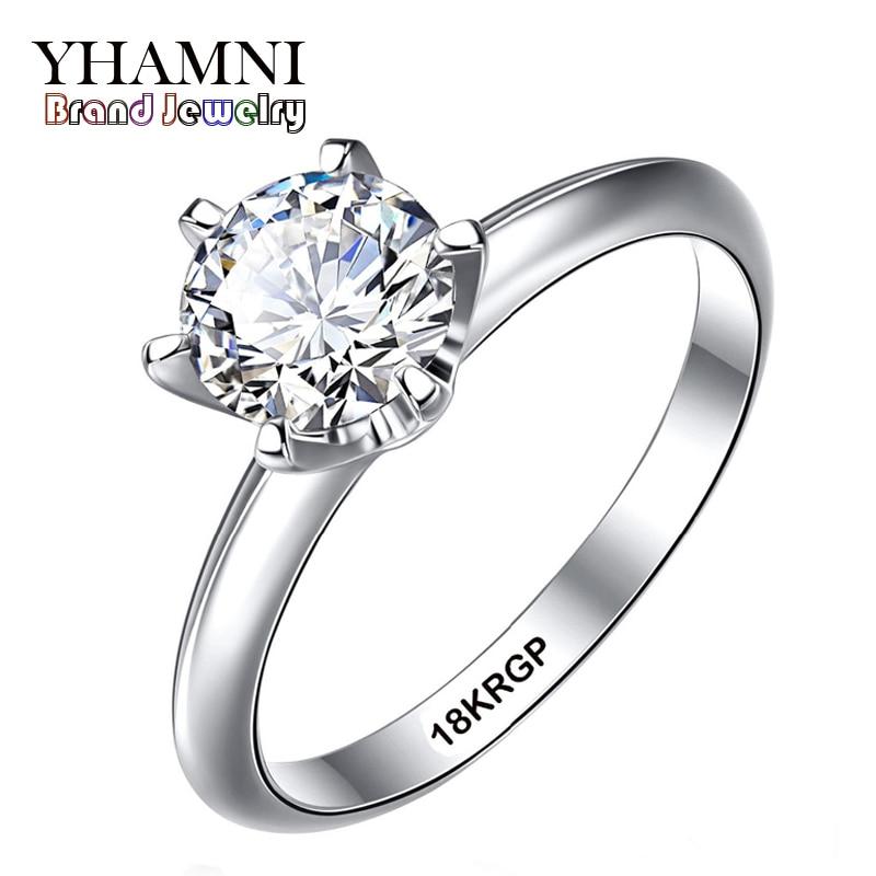 Prix pour Fine Jewelry Réel Bague En Or Blanc Avec 18 18KRGP Stamp Or Rempli anneaux set 6mm sona cz diamant or anneaux de mariage pour les femmes YS168