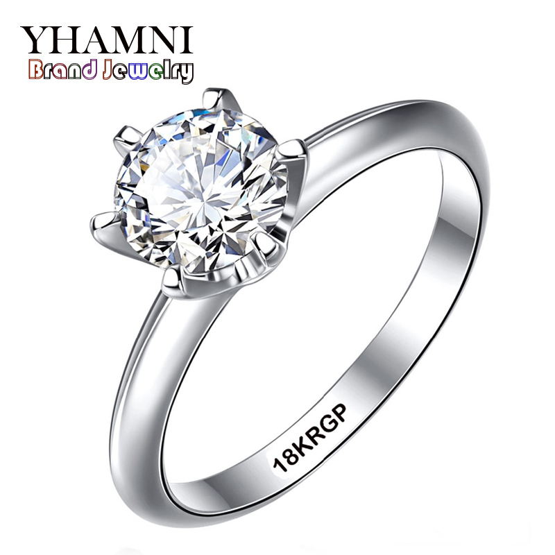 Fine Jewelry Real White Gold Ring With 18krgp Stamp Gold Filled Rings Set 6mm Sona Cz Diamant Gold Wedding Rings For Women Ys168