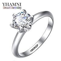 Fine Jewelry Real White Gold Ring With 18KRGP Stamp Gold Filled Rings Set 6mm SONA CZ