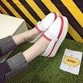 Mulheres Trepadeiras Sapatos de Plataforma Doce Cor Dedo Do Pé Redondo Casuais Plana Sapatos Da Moda Sapatos de Lona Lace-Up Sólidos Respirável Sapatos Mulheres tamanho 9