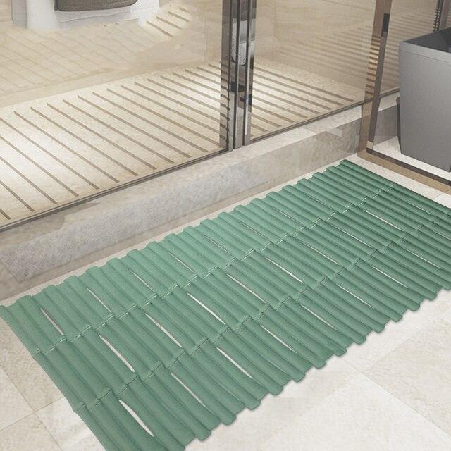 80CM * 40CM Bamboo Transparent PVC Mat Bathroom Non Slip Mat Balcony Anti  Slip