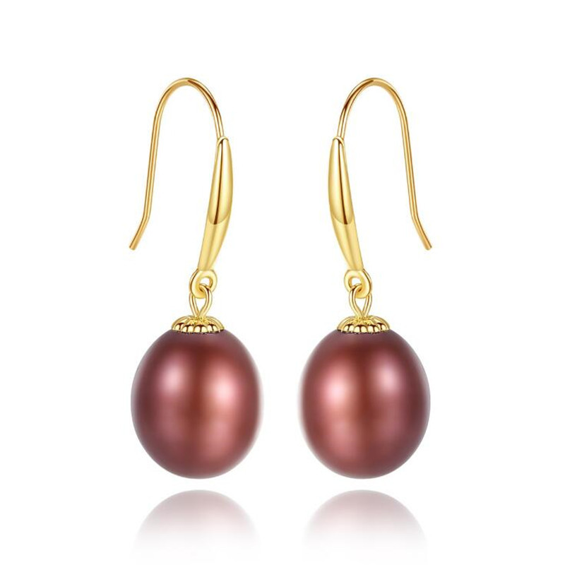 Fashion AU750 Pearl Hook Earrings Natural Freshwater Pearl Drop Earrings For Women 100% Genuine 18K Gold Jewelry Wedding Gifts