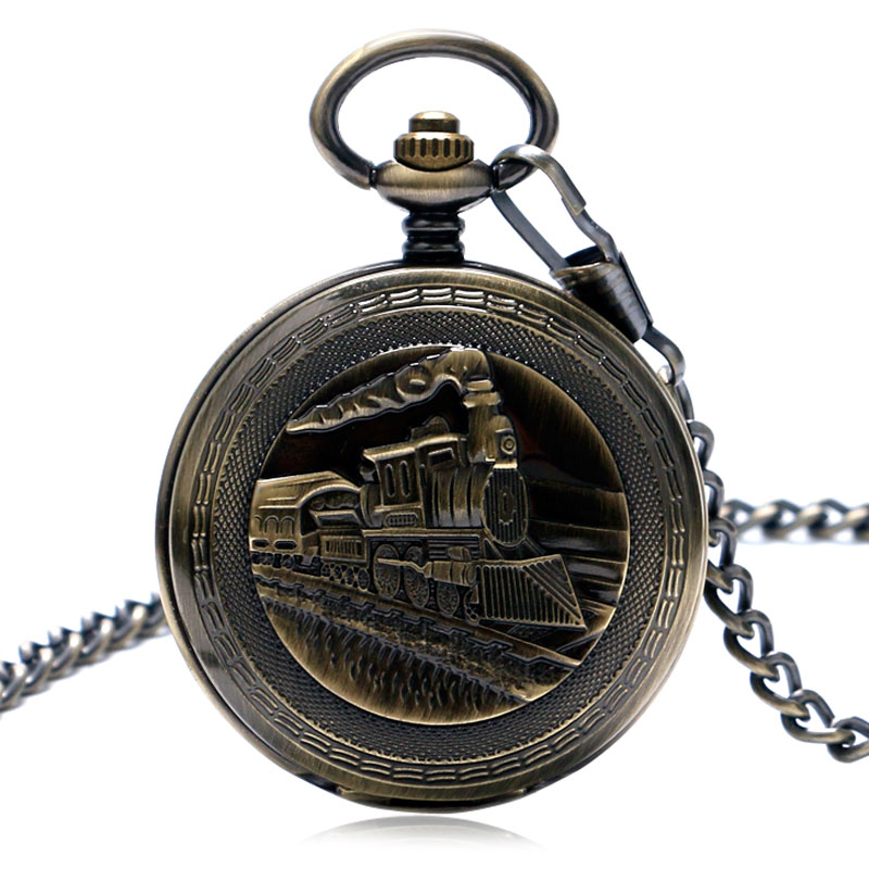 Bronze Railway Hand Wind Mechanical Pocket Watch Running Steam Train FOB Chain Double Hunter Pendant Clock Men Women Gift