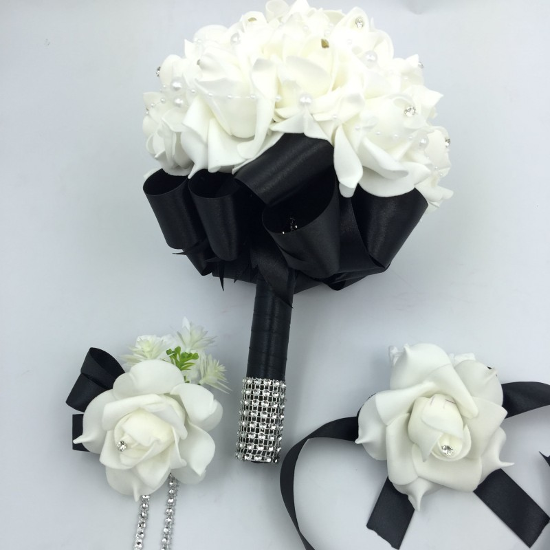 3 Pcs Black Bridal Bridesmais Rose Flowers Holder Wedding Bouquet Boutonniere Wrist Corsage Set Home Party Bride Accessories In Artificial Dried