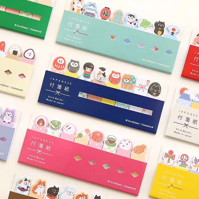 1 Pack Japanese Cute Animals Owl Cat Kittens SUMO Kawaii Stickers Post it Memo Pad Notepad Sticky Marker Notes School Stationery