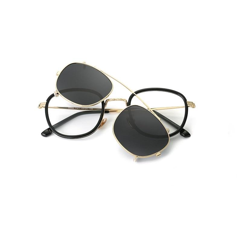 a7f71c4a41 Largeur-138 cadre homme lunettes cadre avec lunettes de soleil à clipser  femmes montures de lunettes clip verres Polarisés mis rétro lunettes myopes