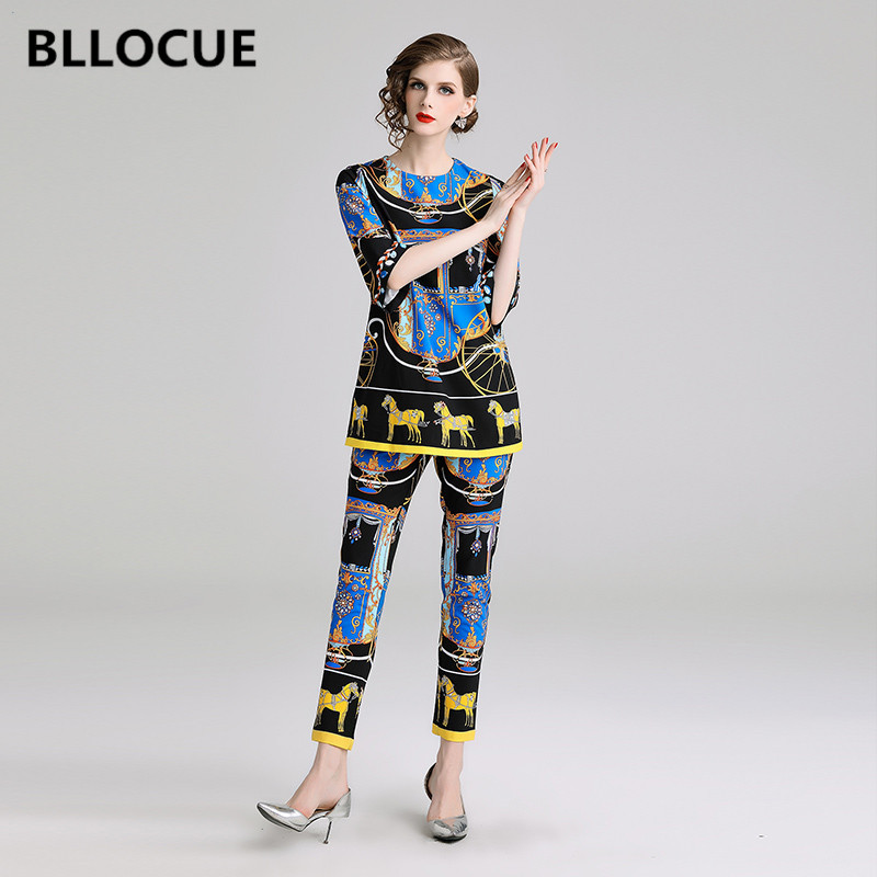 BLLOCUE 2019 High Quality Designer Runway suit set Women O Neck Three Quarter Sleeve Vintage Prin