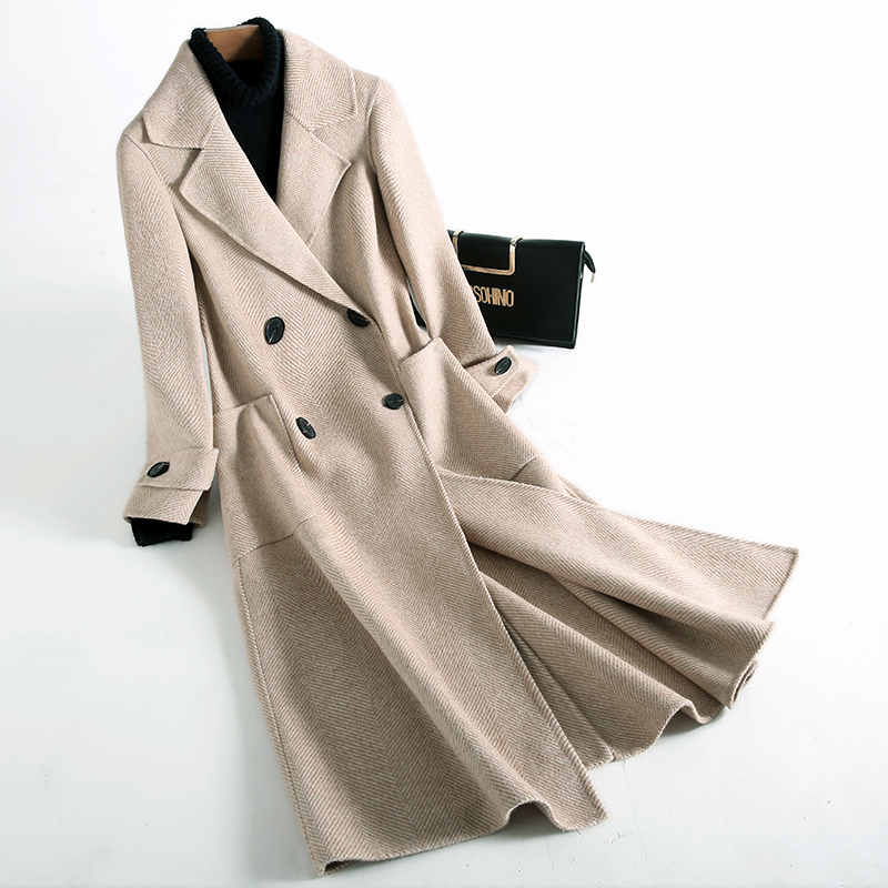 Autumn Winter Wool Coat Women Clothes Long Ladies Coats Camel Woolen Jacket Korean Vintage Overcoat Manteau Femme Hiver ZL783