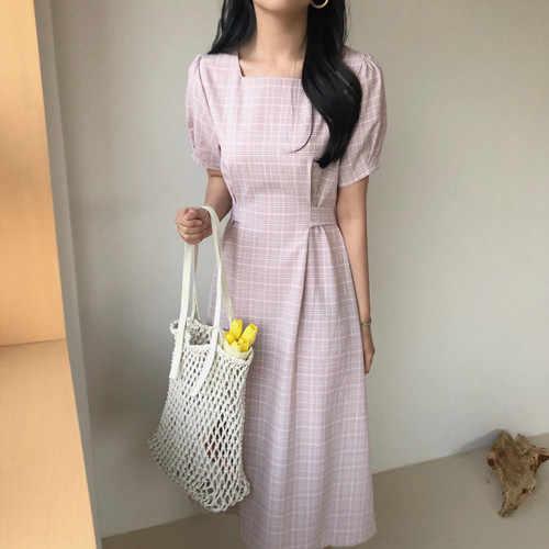 2019 новое летнее платье для девочек вечерние женские платья с квадратным вырезом розовые женские платья в клетку с коротким рукавом на шнуровке Женская одежда с стиле Бохо Vestido