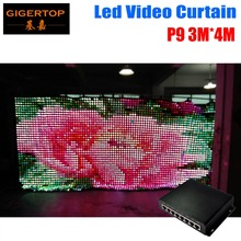 P9 3M 4M PC Mode Led Video Curtain DJ Stage Background 1200pcs 3in1 Led Curtain With