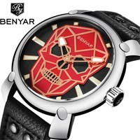 2018 New Men Watch Cool Punk Skull Watches Benyar Luxury Brand Leather Quartz Wrist watches Red Steel Clock Reloj Hombre