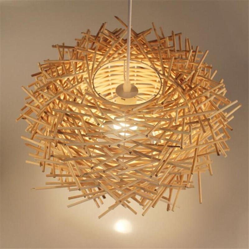 Modern Fashion Handmade Creative Rattan Wood Led E27 Pendant Light For Dining Room Restaurant Living Room AC 80-265V 2185 цена и фото