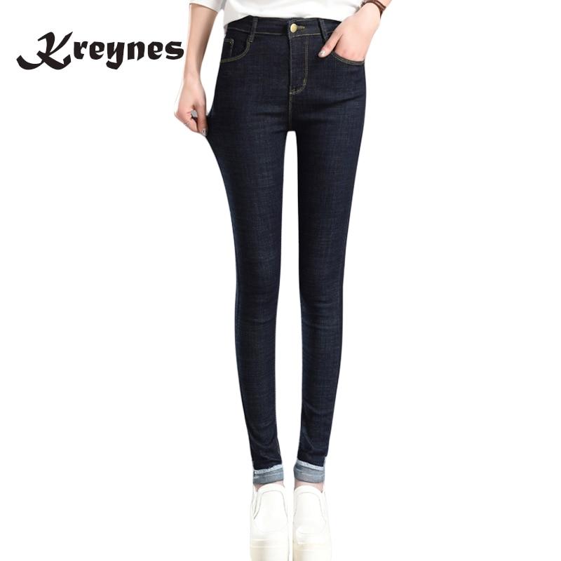 где купить 2017 Autumn Winter Women Cuffs Black Jeans Students Stretch Skinny Female Slim Pencil Pants Denim Ladies long Trousers по лучшей цене
