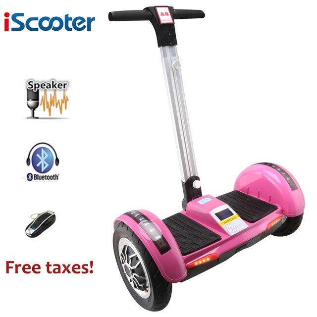 Iscooter ХОВЕРБОРДА 10 дюймов электрический скутер балансируя смарт-два колеса скейтборд giroskuter с ручкой Bluetooth